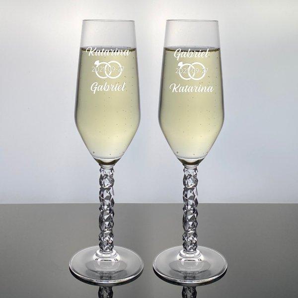 champagneglas med ringar