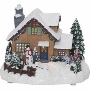 Julby med barn och snögubbe