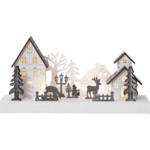 Vit julby med renar och granar